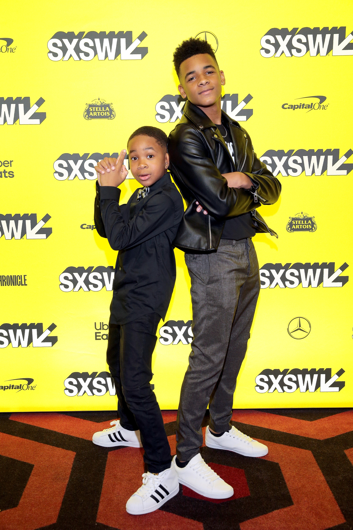 (L-R) Cayden K. Williams and Akili McDowell attend the 'David Makes Man' Premiere at the Alamo Lamar.