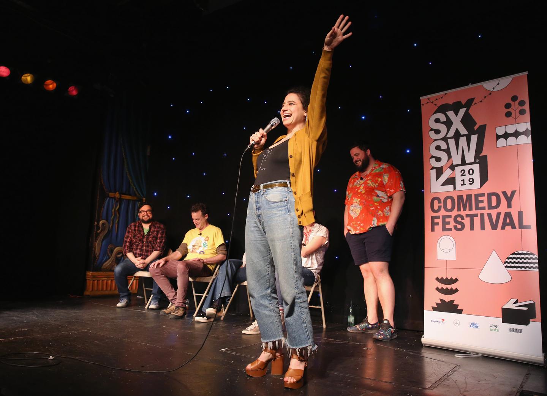 (L-R) Horatio Sanz, Matt Besser, Ilana Glazer, and Jon Gabrus speak onstage at Upright Citizens Brigade's ASSSSCAT at Esther's Follies.