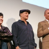 (L-R) Kathy Bates, Woody Harrelson, and Kevin Costner speak onstage at The Highwaymen Premiere at the Paramount Theatre.