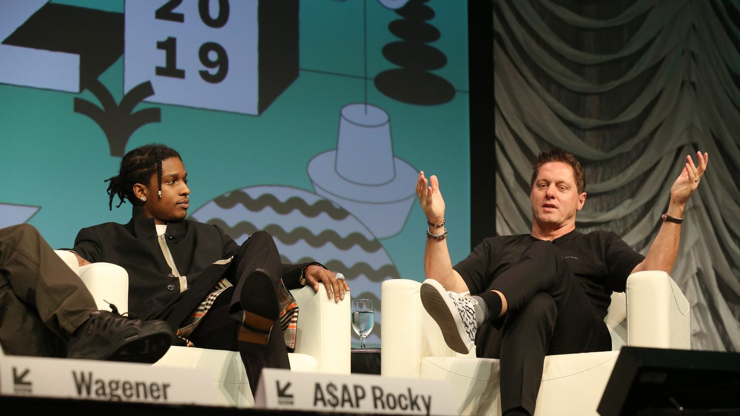 "A$AP Rocky and Gorden Wagener speak onstage at their Featured Session: Using Design ""Differently"" to Make a Difference."