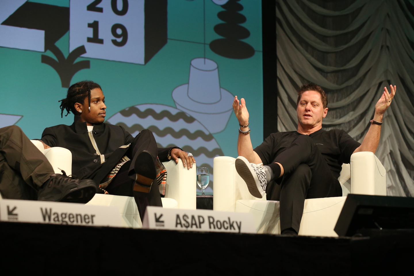 A$AP Rocky and Gorden Wagener speak onstage at their Featured Session: Using Design