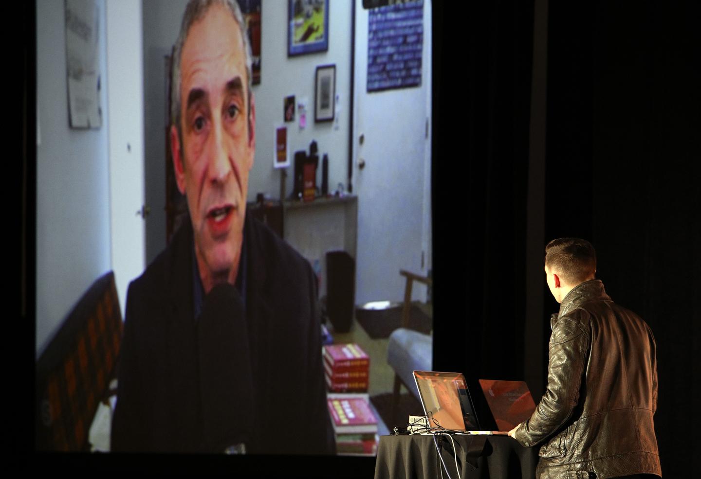 Luke Robert Mason skypes Douglas Rushkoff at his Featured Session.