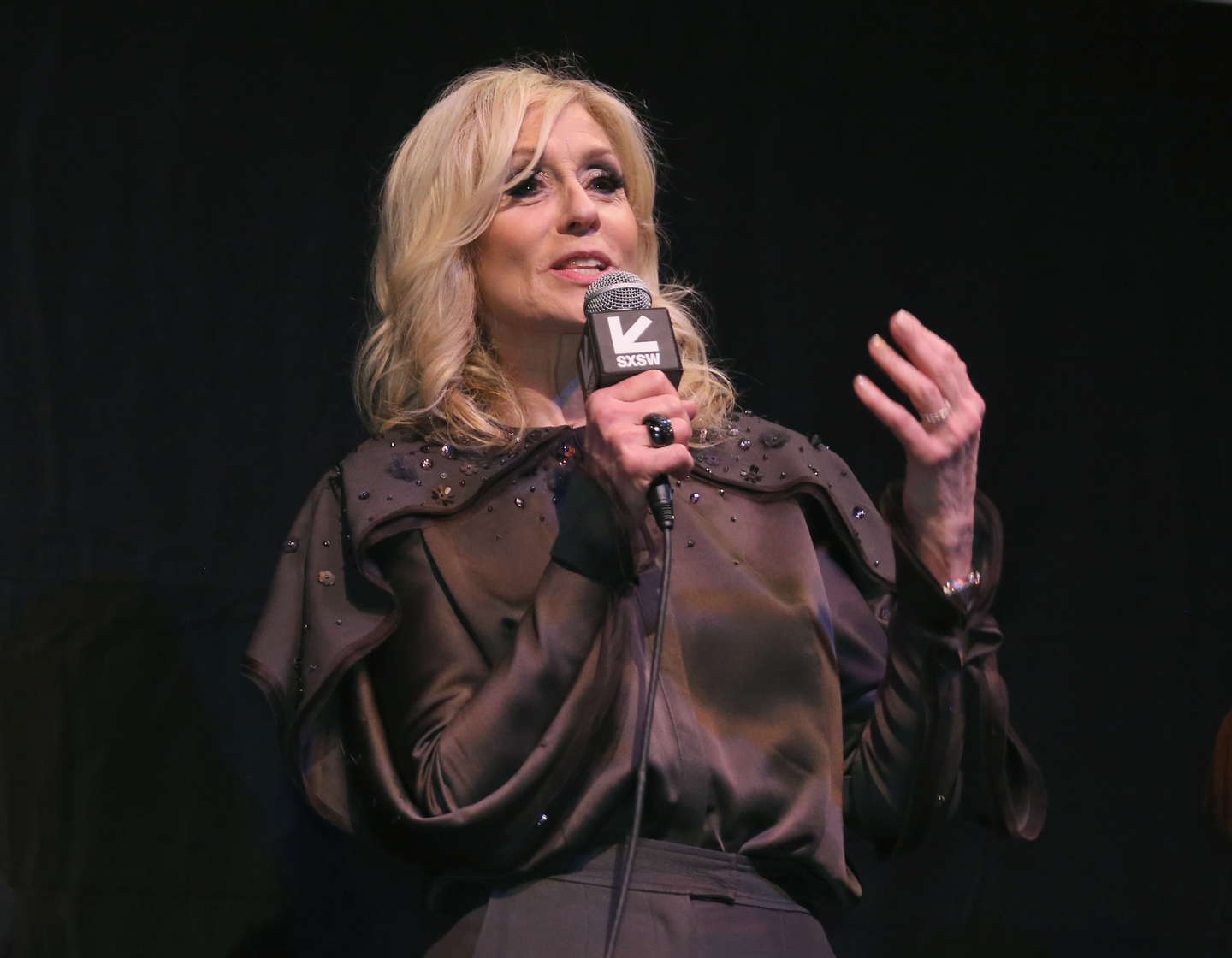 Judith Light speaks onstage at the Ms. White Light premiere at the Stateside Theater.