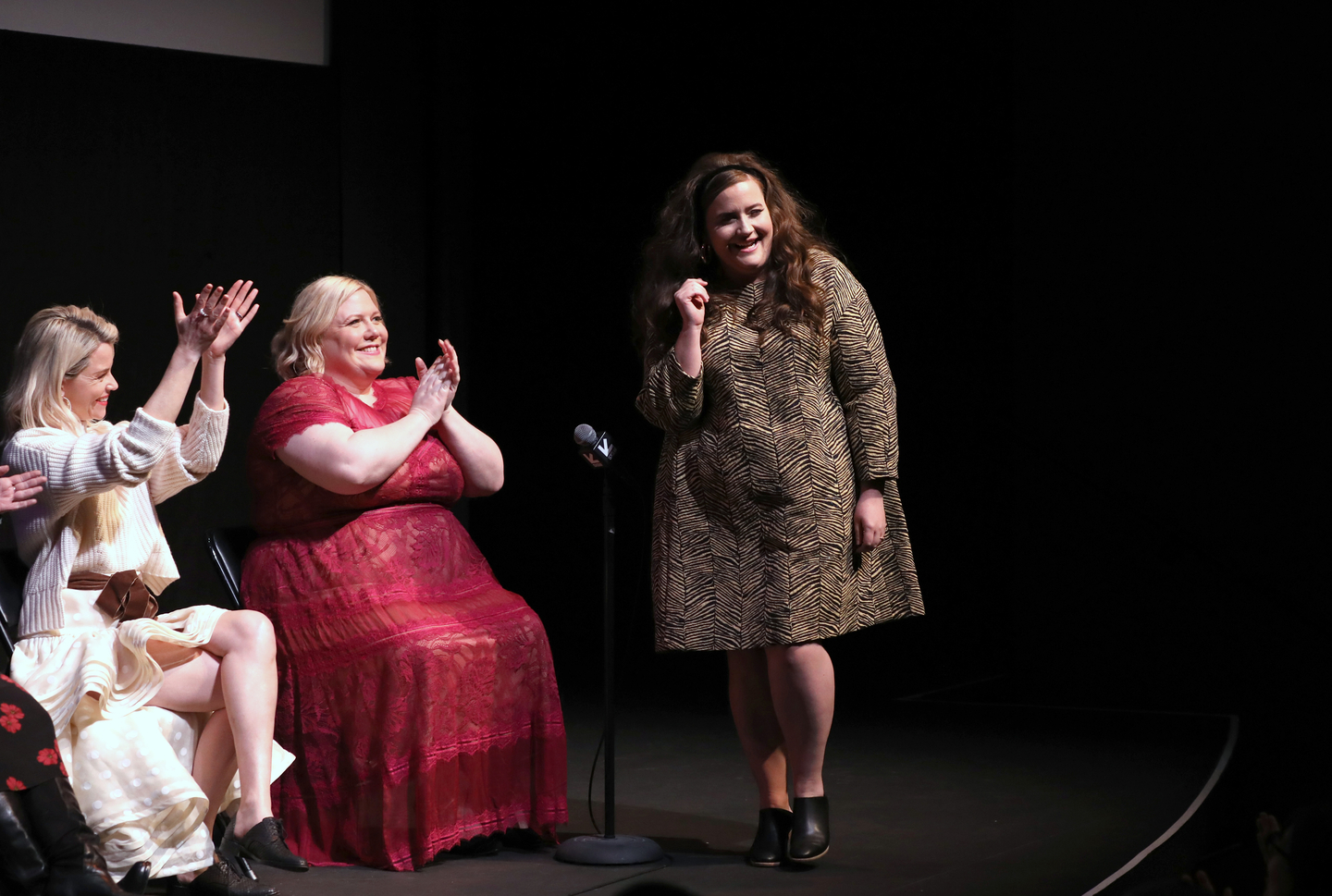 (L-R) Elizabeth Banks, Lindy West, and Aidy Bryant speak onstage at the Shrill premiere at the Stateside Theatre. Photo by Sean Mathis/Getty Images for SXSW