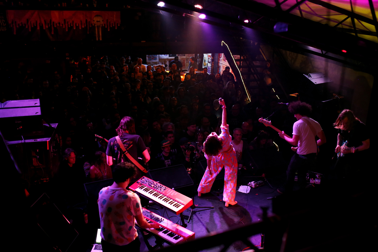 Jake Knight, Andrew Cashen, Sabrina Ellis, Jon Fichter, and Joshua Merry of Sweet Spirit perform onstage at The Onion & AV Club event at Mohawk. Photo by Travis P Ball/Getty Images for SXSW
