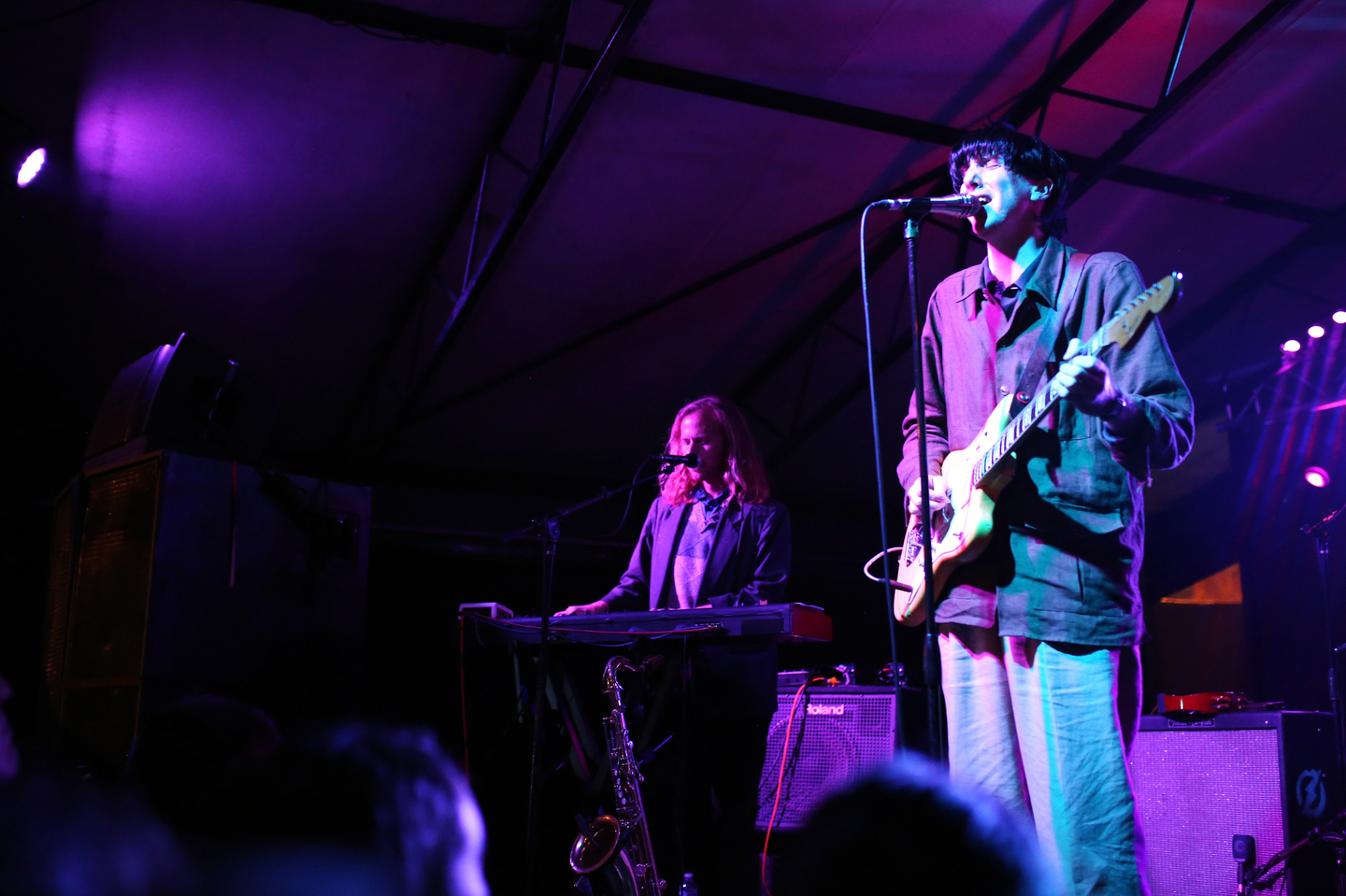 (L-R) Javier Morales and Bradford Cox of Deerhunter perform onstage at The Onion AV Club event at the Mohawk Outdoor.