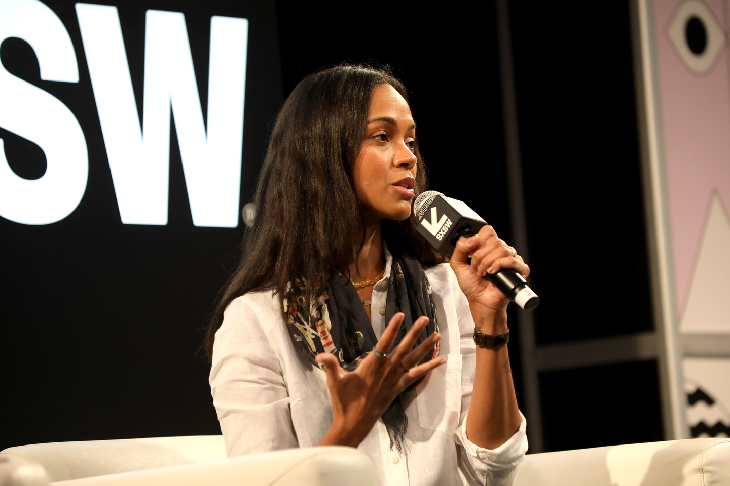 Zoe Saldana speaks onstage at her Featured Session: Changing the Narrative with Zoe Saldana.