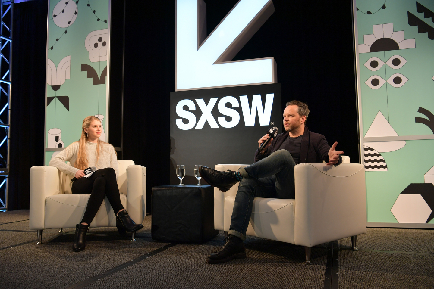 Bryn Sandberg and Noah Hawley speak onstage at his Featured Session.