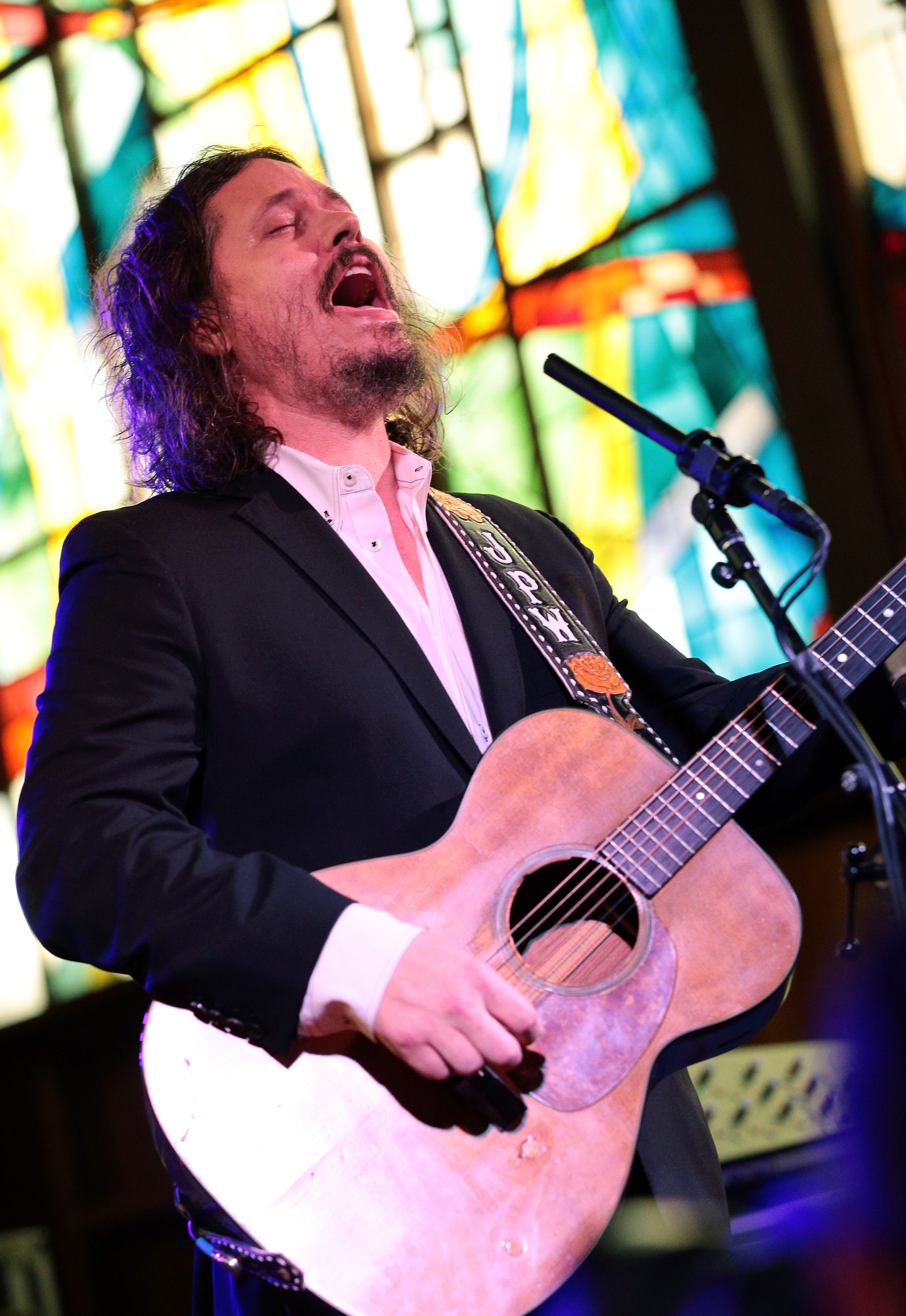 John Paul White performs onstage at NPR Tiny Desk Concert at Central Presbyterian Church.