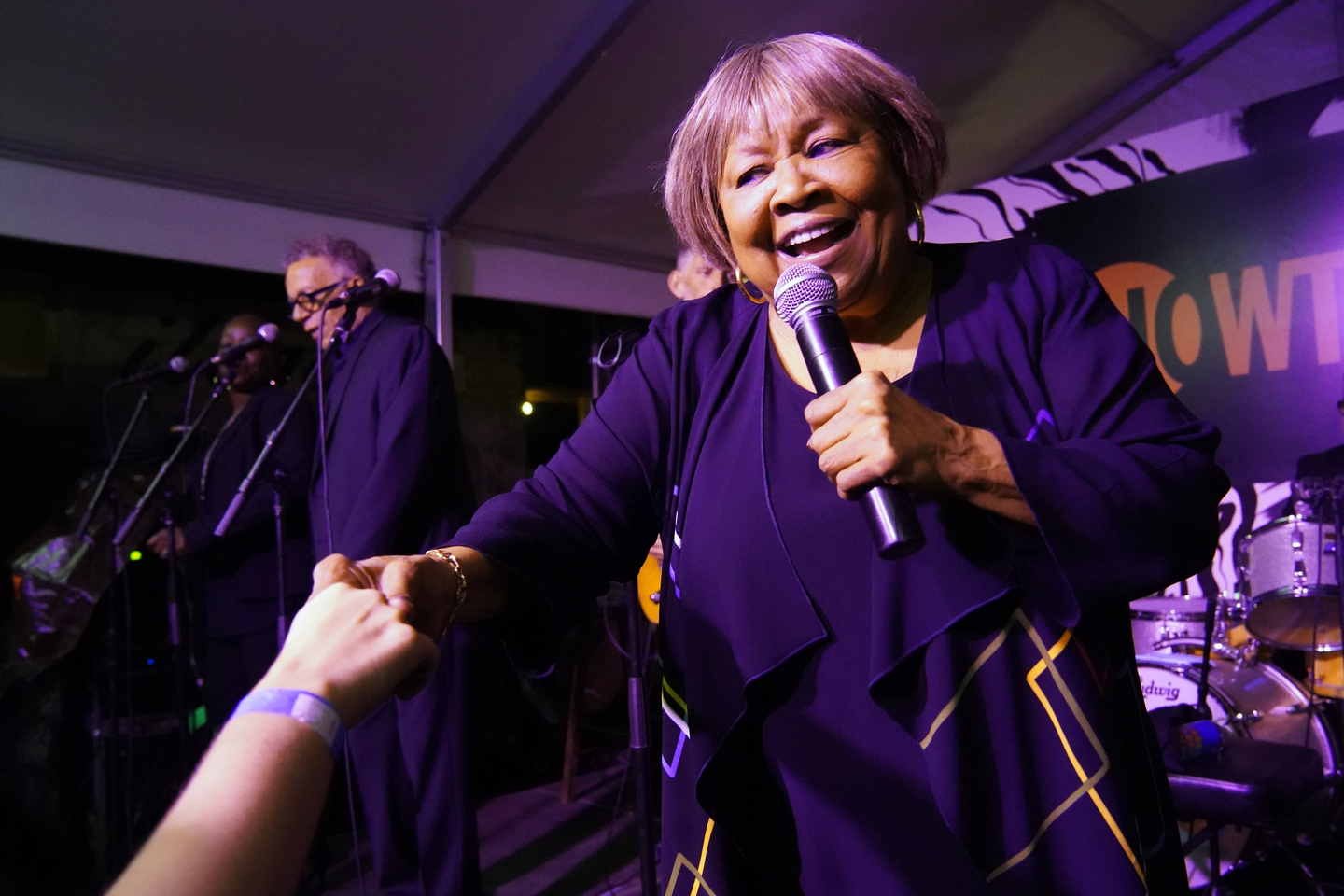 Mavis Staples performs onstage at Collide / Showtime at Clive Bar.
