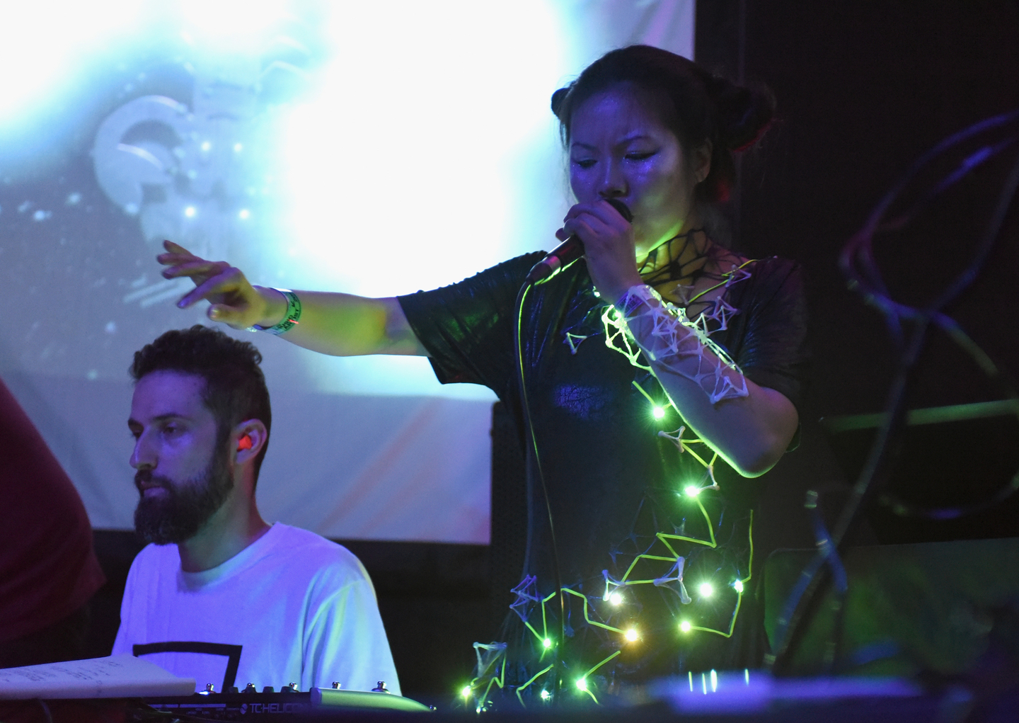 Jason Levine (L) and May Cheung of Scorpion Mouse perform onstage at the Lush presents Algorave: Live Coding Party at The Main II.