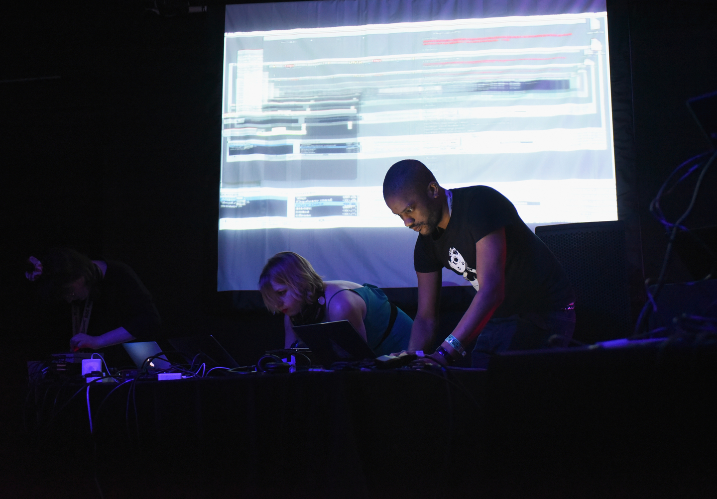 (L-R) Shelly Knotts and Joanne Armitage of AlgoBabez featuring hellocatfood perform onstage at the Lush presents Algorave: Live Coding Party at The Main II.