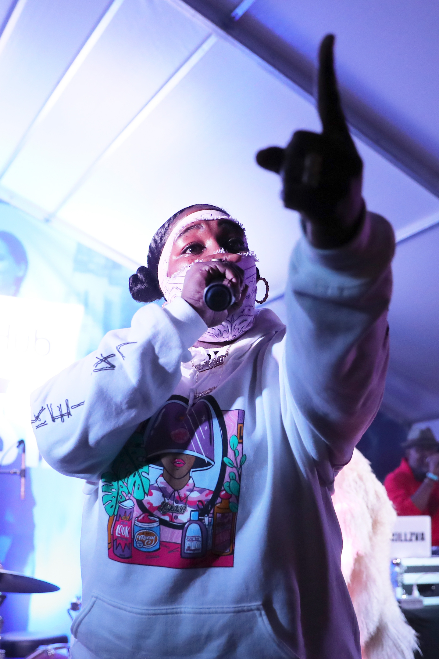 Leikeli47 performs onstage at Collide/StubHub at Banger's.