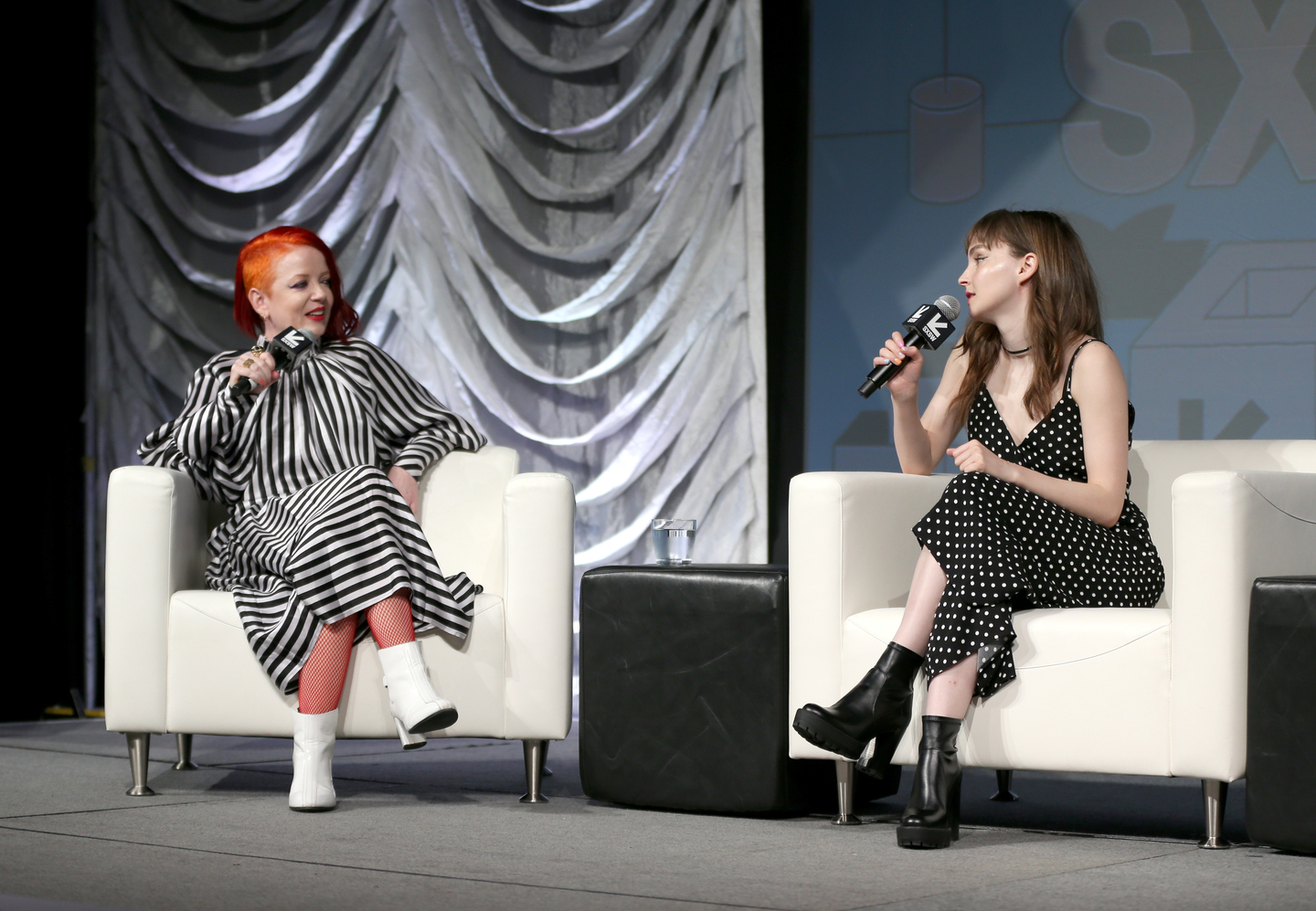 Shirley Manson of Garbage and Lauren Mayberry of Chvrches speak onstage at their Music Keynote with Puja Pate at Hilton Austin.