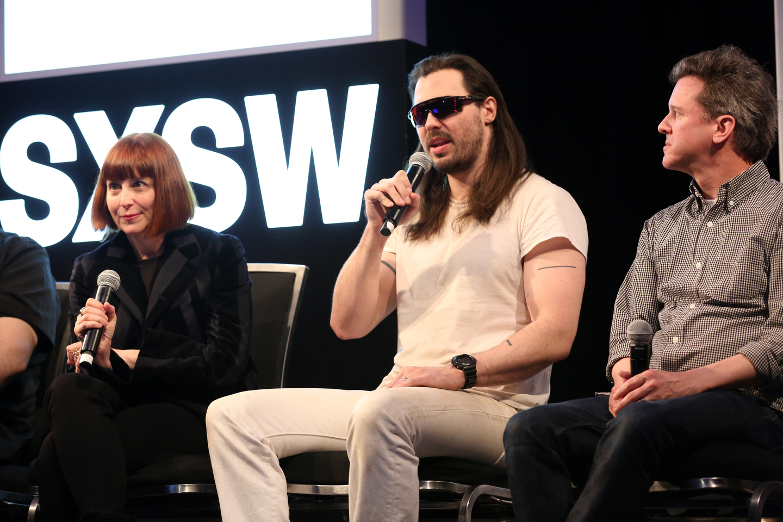 Karen Glauber, Andrew W.K, and Mac McCaughan speak onstage at their Featured Session: Heavenly Pop Hit.