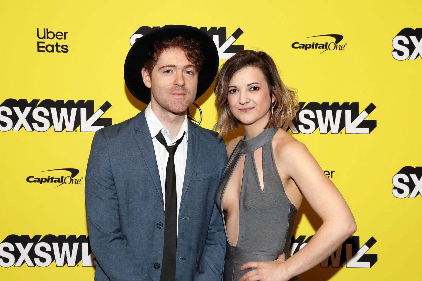 (L-R) Justin Davis and Sarah Zimmermann of Striking Matches attend the Bluebird premiere at the Paramount Theater.