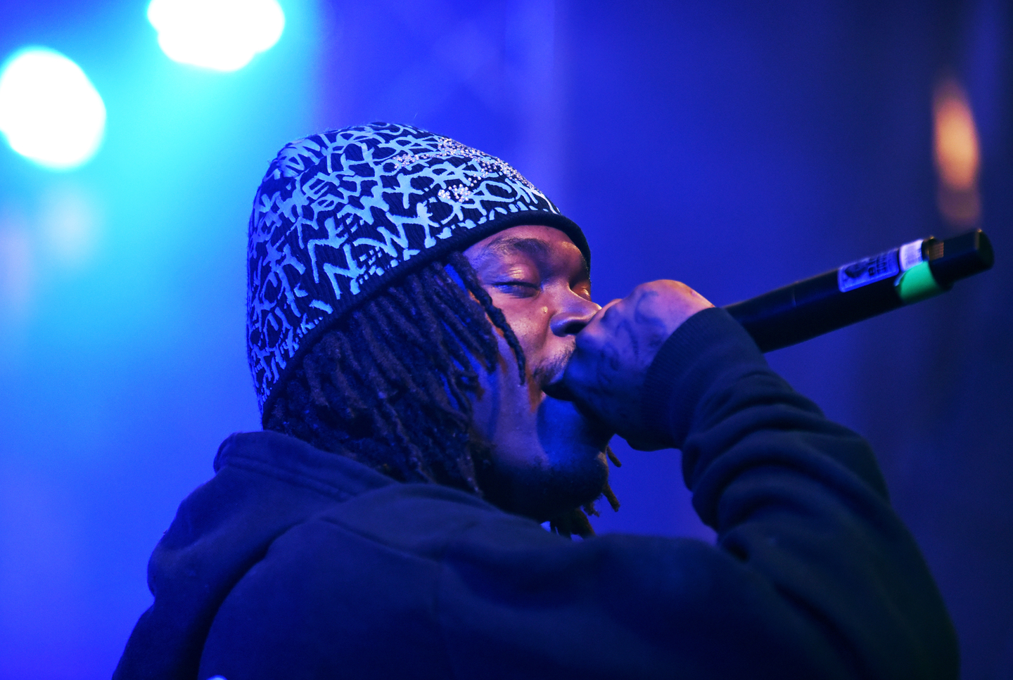 Lucki peforms onstage at DNES Marketing showcase at Stubb's.