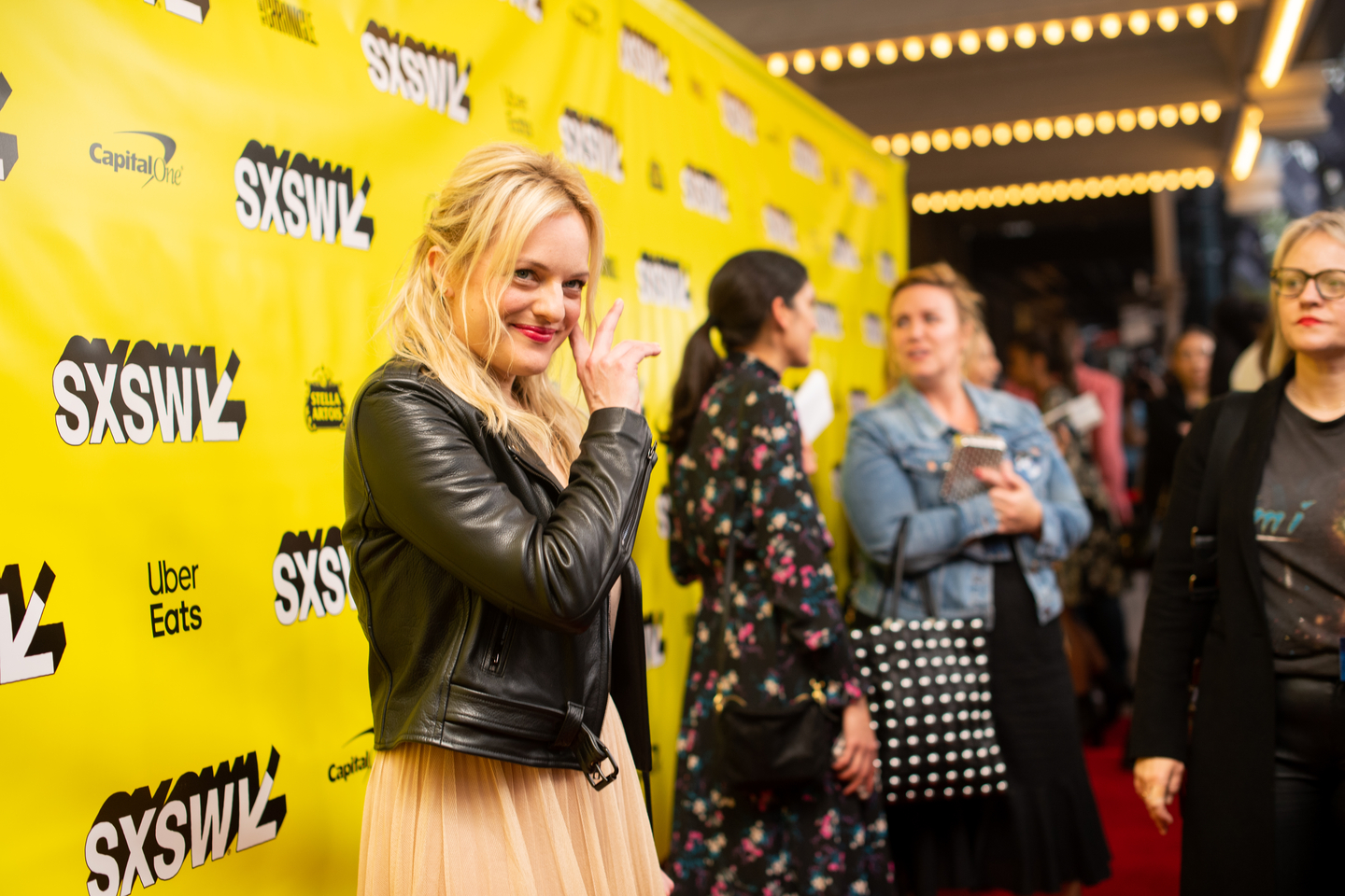 Elisabeth Moss attends the Us world premiere at the Paramount Theatre.