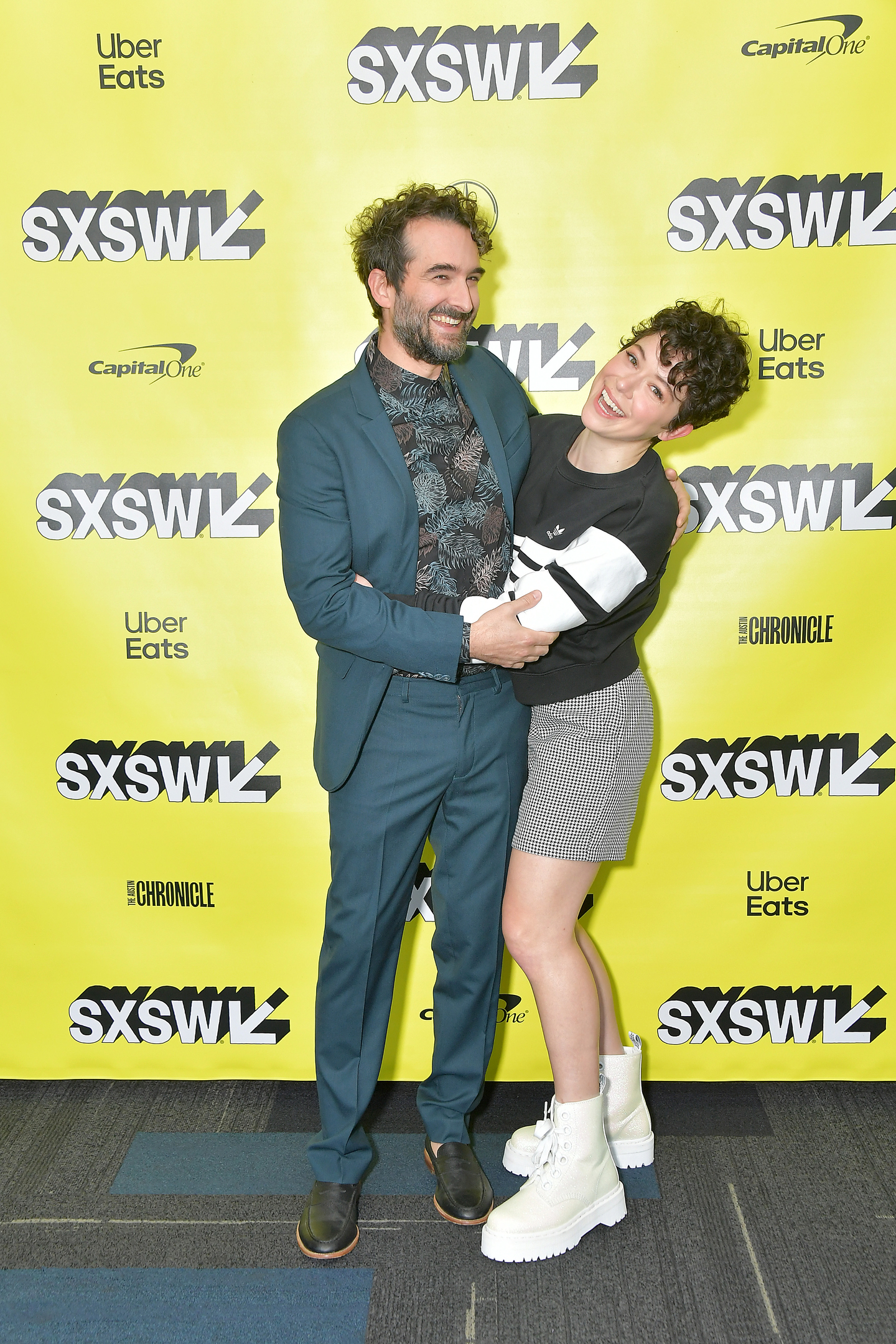 Actors Jay Duplass and Tatiana Maslany attend the premiere of Pink Wall at ZACH Theatre.