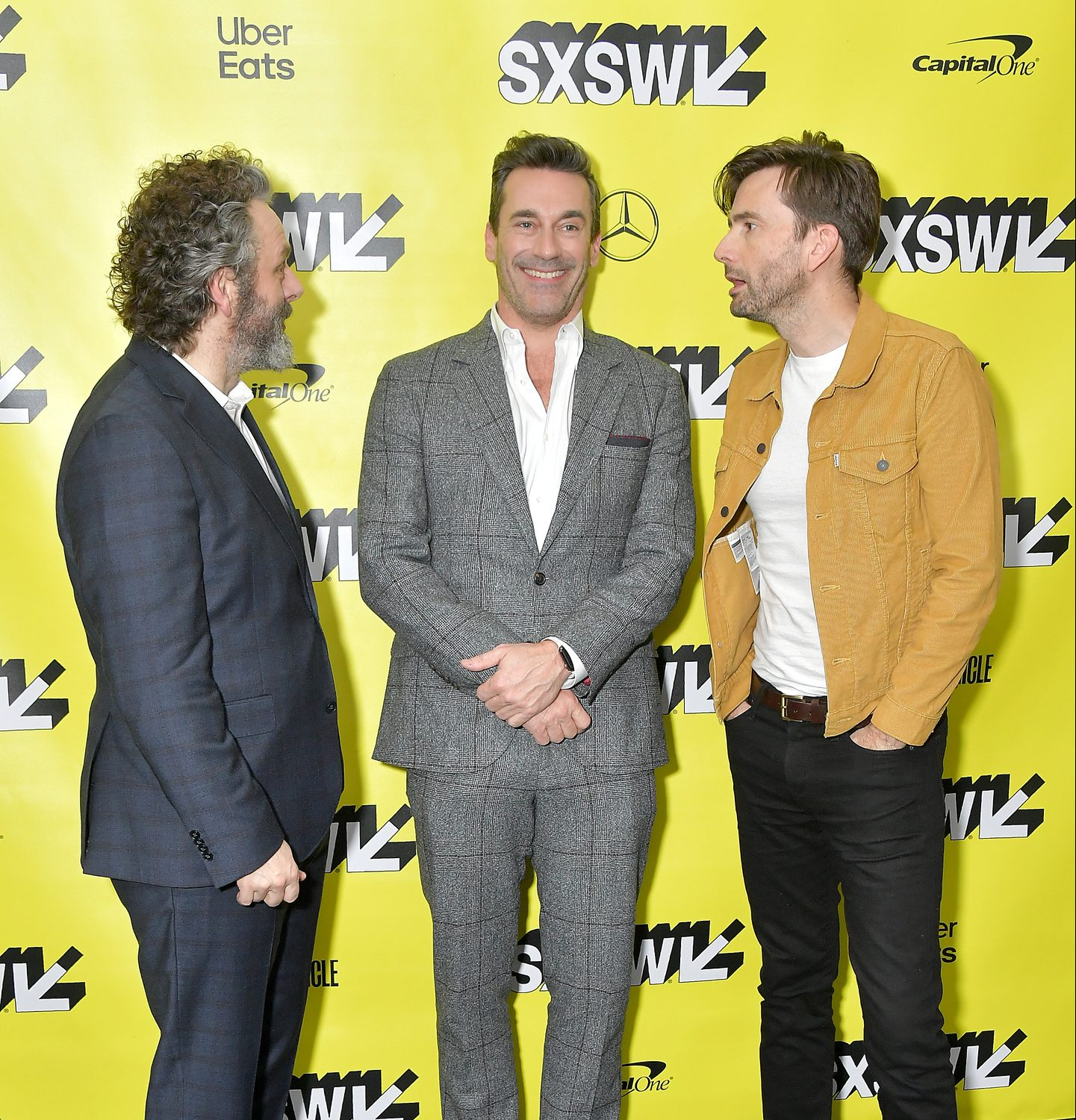 (L-R) Actors Michael Sheen, Jon Hamm and David Tennant attends Good Omens: The Nice and Accurate event at the ZACH Theatre.