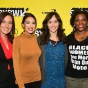 Amy Vilela, Alexandria Ocasio-Cortez, Rachel Lears, and Cori Bush attend the Knock Down The House Premiere at the Paramount Theatre.
