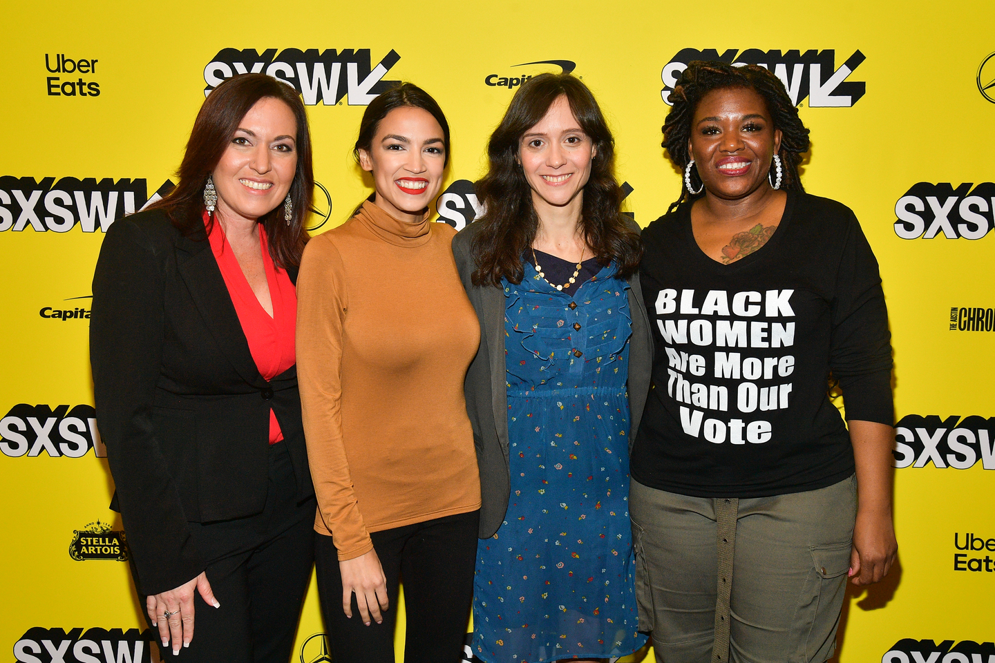 Amy Vilela, Alexandria Ocasio-Cortez, Rachel Lears, and Cori Bush attend the Knock Down The House Premiere at the Paramount Theatre.