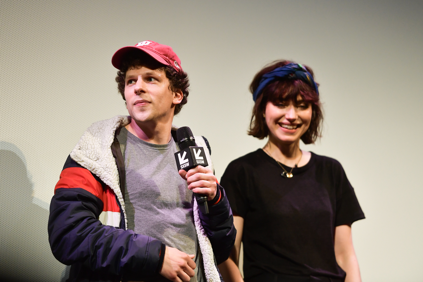 Jesse Eisenberg and Imogen Poots attend the The Art Of Self-Defense Premiere at the Paramount Theatre.