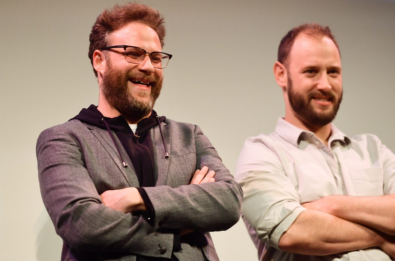 Seth Rogen and Evan Goldberg attend the Good Boys world premiere at the Paramount Theatre.