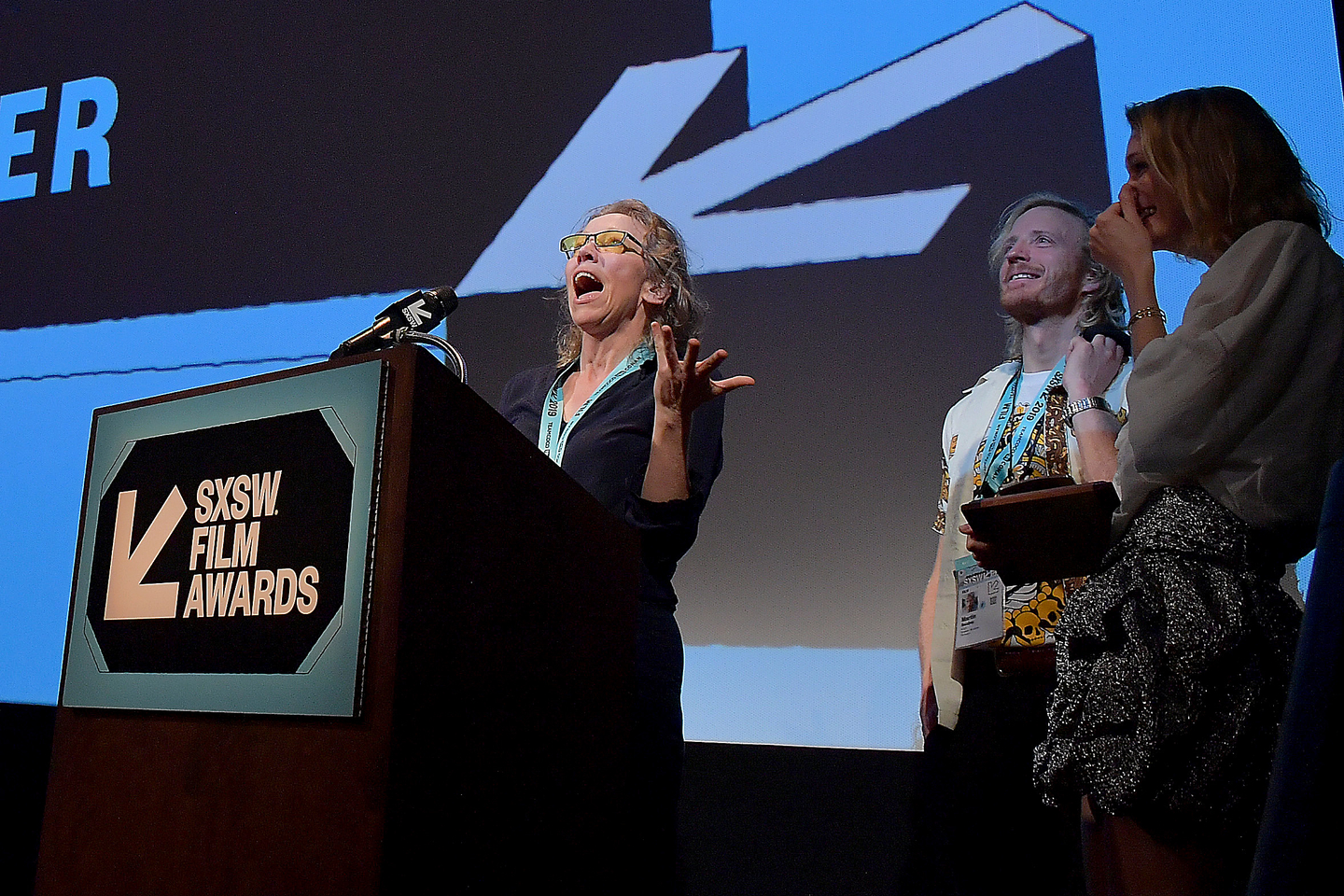 Josephine Mackerras accepts an award for her film Aliceat the SXSW Film Awards at the Paramount Theatre.