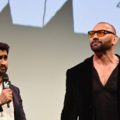 Kumail Nanjiani and Dave Bautista attends the Stuber premiere at the Paramount Theatre.
