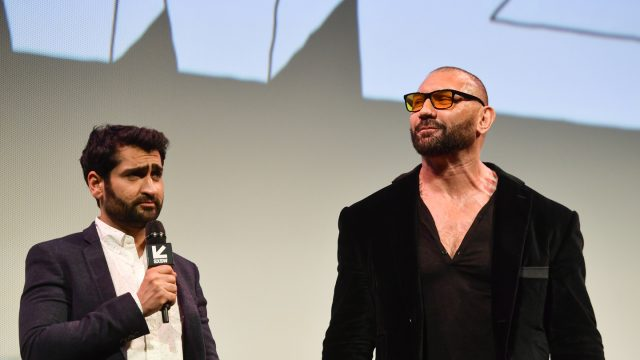 Kumail Nanjiani and Dave Bautista attend the Stuber screening at the Paramount Theatre.