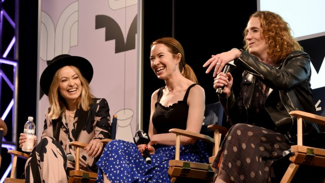 AUSTIN, TX - MARCH 11: (L-R) Olivia Wilde, Katie Silberman, and Jessica Elbaum speak onstage at Featured Session: