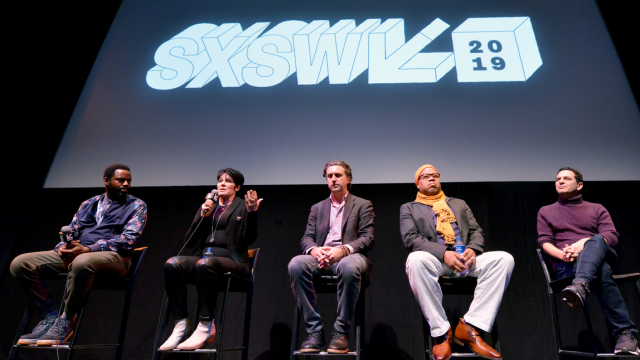 (L-R) Baron Vaughn, Jennifer Lee Pryor, Jesse James Miller, Greg Tate, and Scott Saul speak onstage at