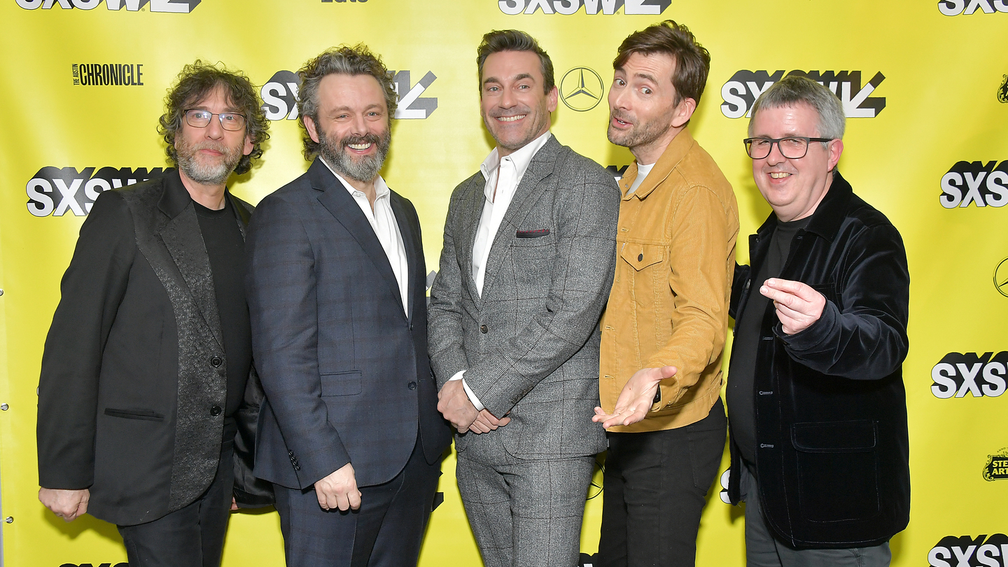 Good Omens: The Nice and Accurate SXSW Event (L-R) Writer and executive producer Neil Gaiman, actors Michael Sheen, Jon Hamm and David Tennant and director Douglas Mackinnon - Photo by Michael Loccisano