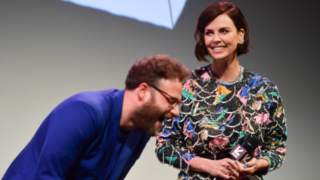 "Seth Rogen and Charlize Theron attend the ""Long Shot"" Premiere - 2019 SXSW Conference and Festivals at Paramount Theatre on March 09, 2019 in Austin, Texas. (Photo by Matt Winkelmeyer/Getty Images for SXSW)"