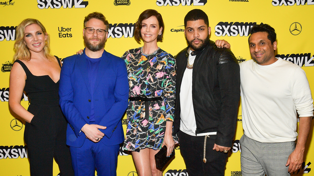 "June Diane Raphael, Seth Rogen, Charlize Theron, O'Shea Jackson Jr., and Ravi Patel, attends the ""Long Shot"" Premiere - 2019 SXSW Conference and Festivals at Paramount Theatre on March 09, 2019 in Austin, Texas. (Photo by Matt Winkelmeyer/Getty Images for SXSW)"