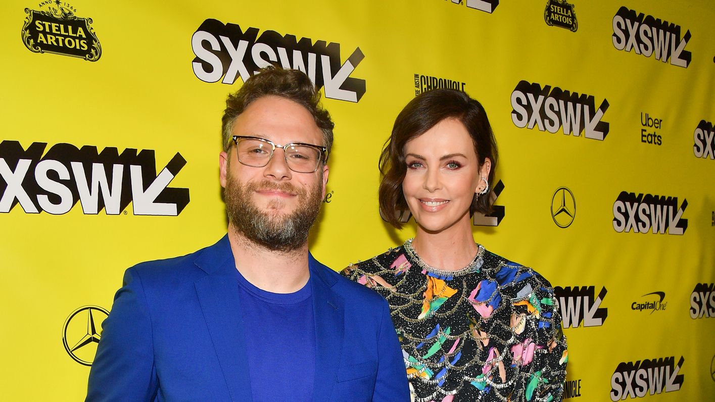 "Seth Rogan and Charlize Theron attend the ""Long Shot"" Premiere - 2019 SXSW Conference and Festivals at Paramount Theatre on March 09, 2019 in Austin, Texas. (Photo by Matt Winkelmeyer/Getty Images for SXSW)"