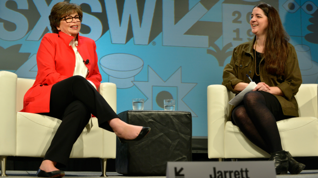 Valerie Jarrett and Melissa Bell speak onstage at Featured Session: Valerie Jarrett with Melissa Bell during the 2019 SXSW Conference and Festivals