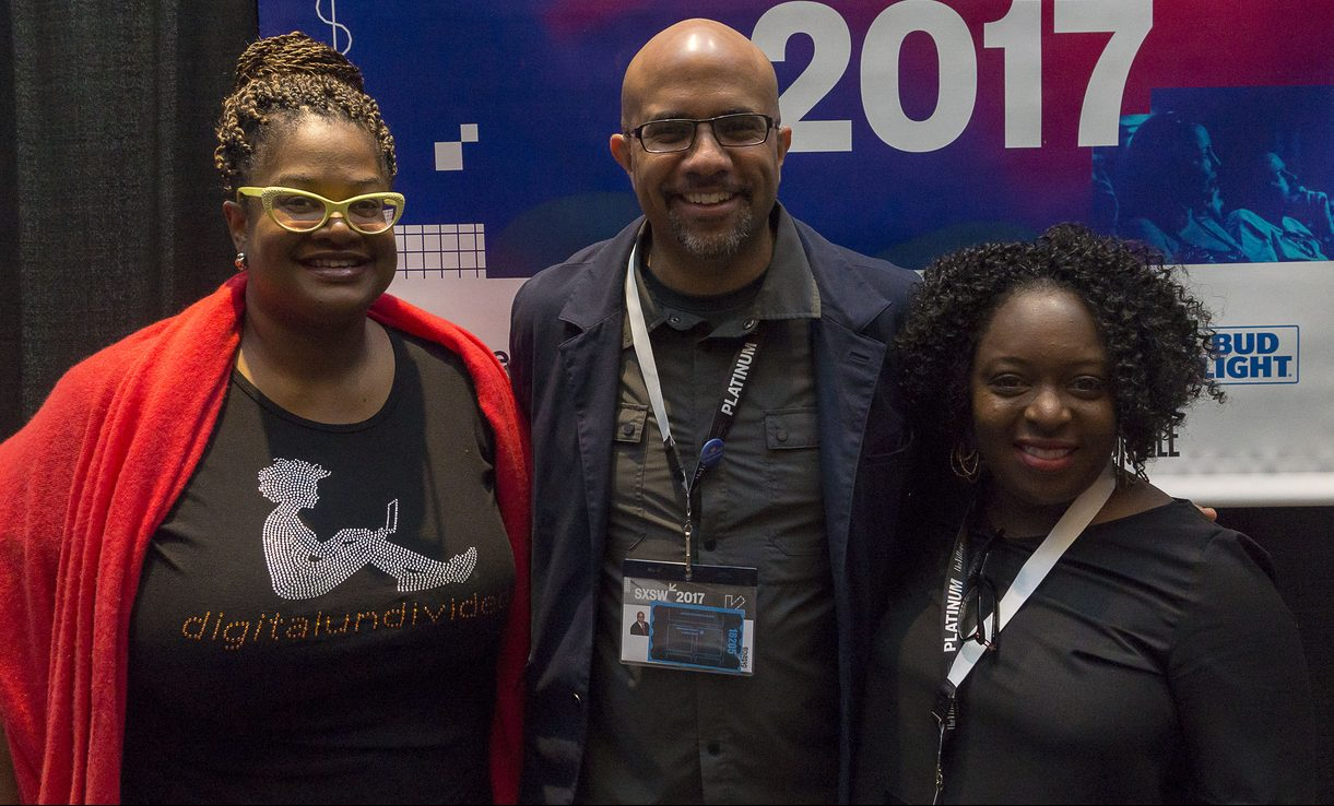 Kathryn Finney, Bret Perkins, and Kimberly Bryant 2017 panel, Inclusion and the Digital Neighborhood. Photo by Luis Bustos