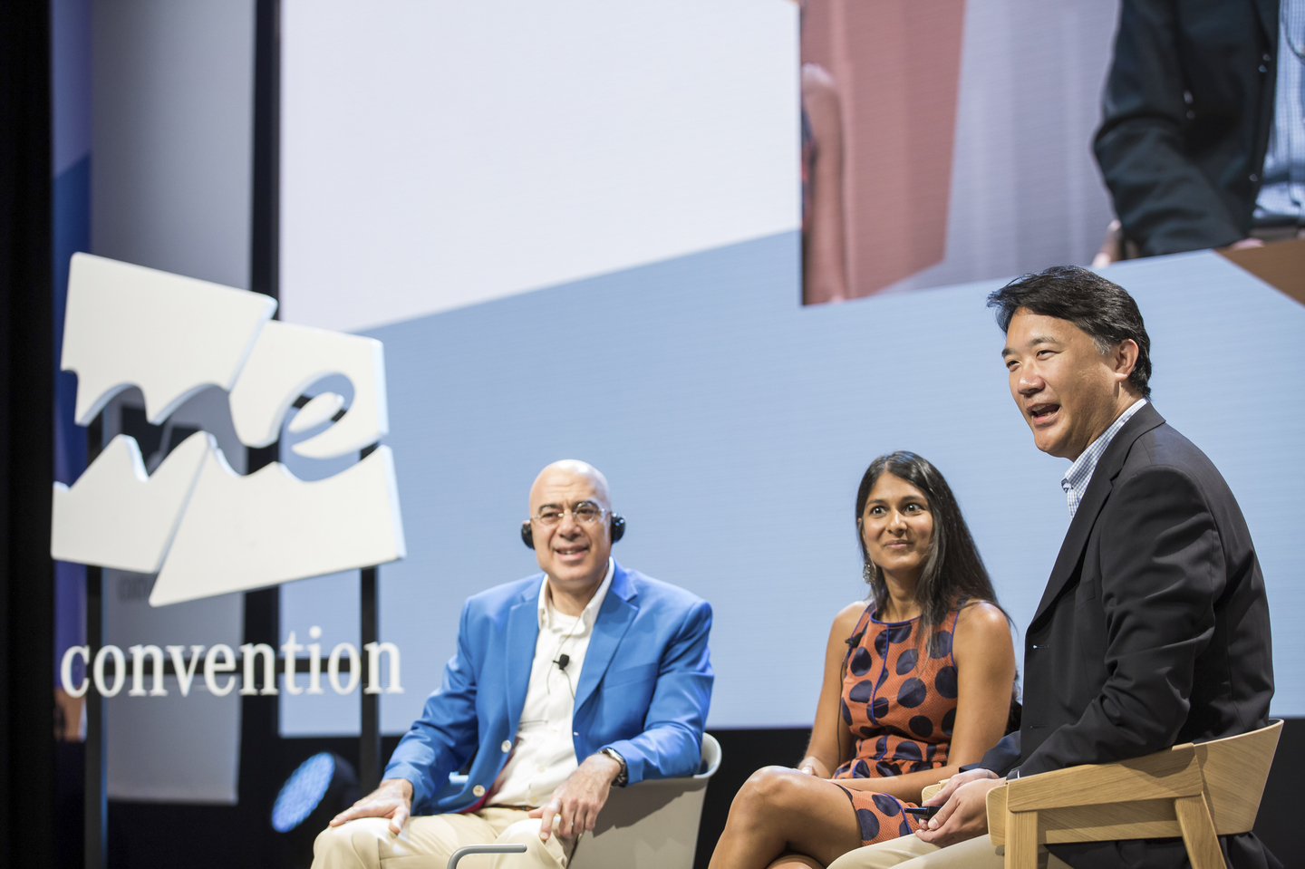 """(L-R) Glenn Zorpette, Neema Singh Guliani and Christopher S. Lee formed the """"The Price of Security: AI, Facial Recognition, and the Future of Policing"""" panel. Photo by Teymur Madjderey/Daimler AG"""