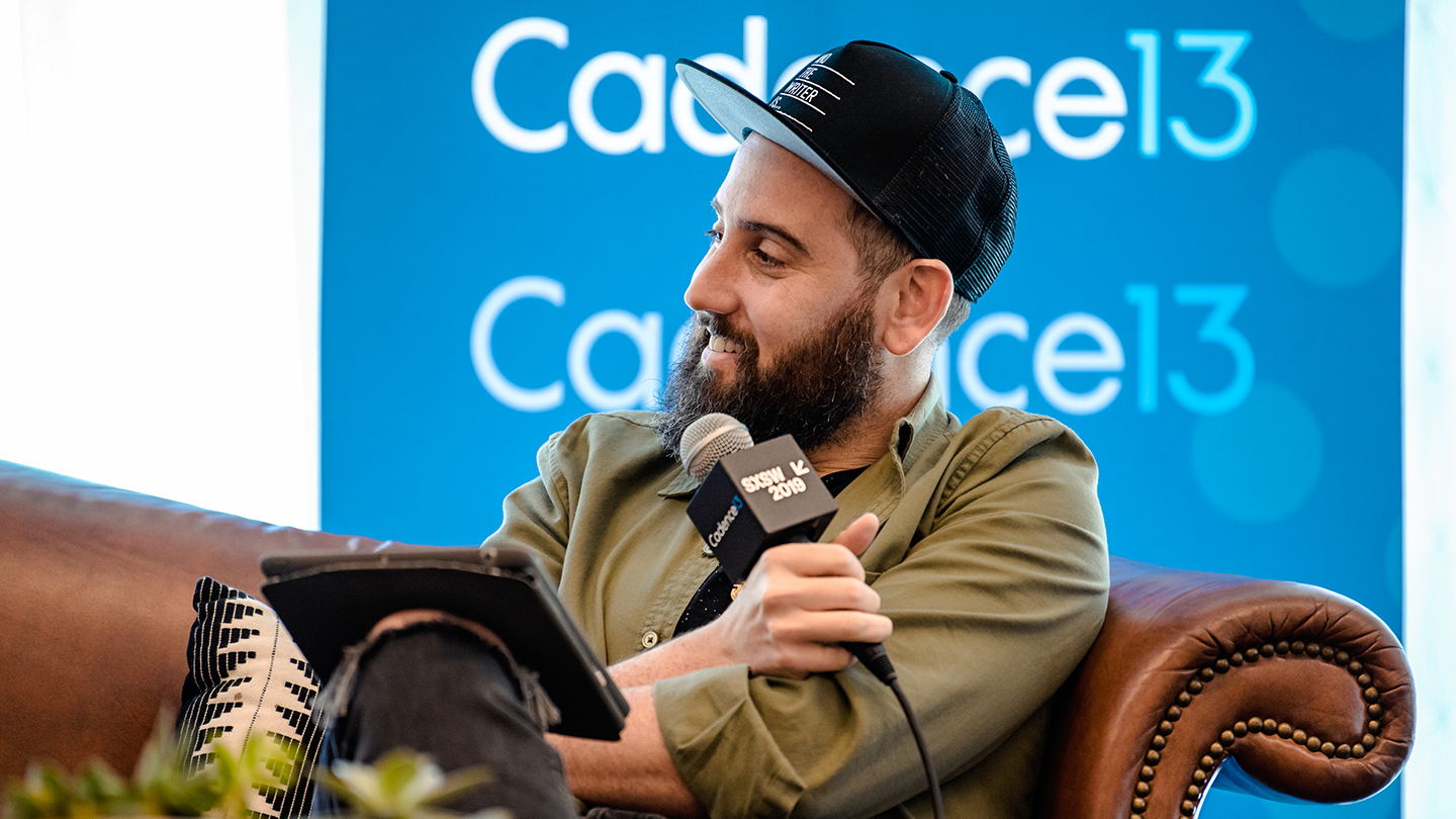 Ross Golan speaking onstage during SXSW 2019 podcast recording at And The Writer Is... (Photo by Denise Enriquez)