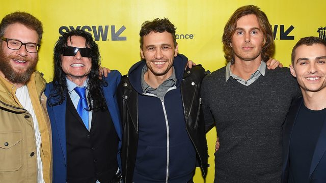(L-R) Seth Rogen, Tommy Wiseau, James Franco, Greg Sestero, and Dave Franco at the SXSW premiere of The Disaster Artist. Photo by Matt Winkelmeyer/Getty Images