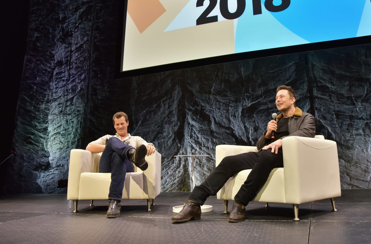 Jonathan Nolan with Elon Musk. Photo by Chris Saucedo