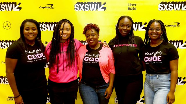 (L-R) Alexandra Philip, Kai Morton, Kimberly Bryant, Aminata Dieng, and Olivia Ross attend Featured Session: Behind the Click: Securing the Future for Black Women and Girls in Tech during the 2019 SXSW Conference and Festivals at Hilton Austin Downtown on March 8, 2019 in Austin, Texas. (Photo by Sean Mathis/Getty Images for SXSW)