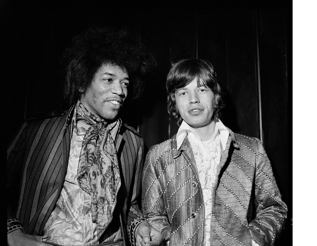 Jimi Hendrix and Mick Jagger at Top of the Pops taping, May 4, 1967. © Alec Byrne.