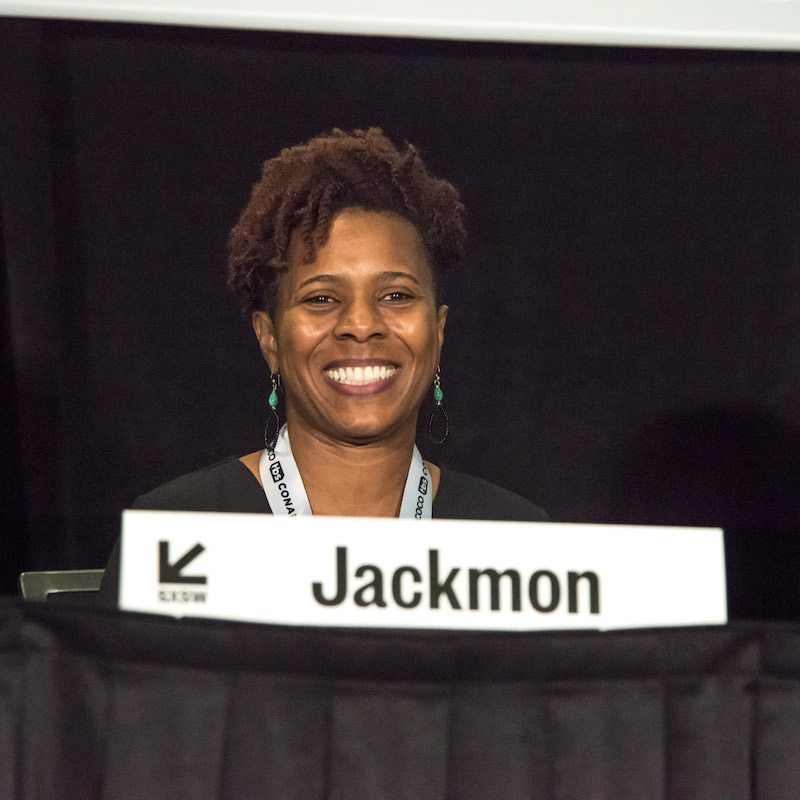 Nefertitti Jackmon during the Back 2 the Future: Storytelling in Virtual Reality session - Photo by Amanda Stronza