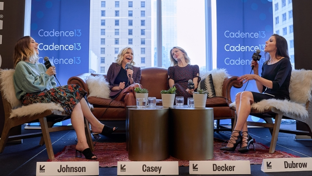 Jaclyn Johnson, Whitney Casey, Brooklyn Decker, and Heather Dubrow onstage during a 2019 SXSW Podcast recording of Heather Dubrow's World Podcast