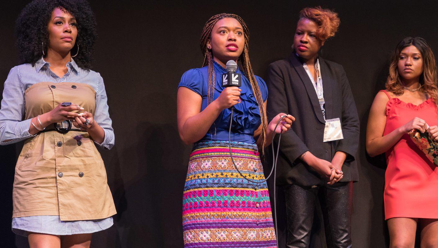 Nijla Mu'min speaks at the premiere of Jinn. Photo by Kurt Lunsford.