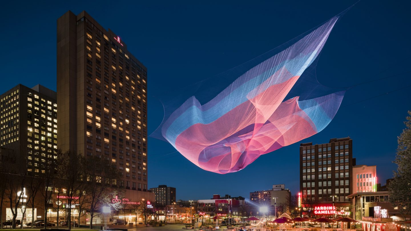One of Janet Echelman's installations over Montreal's PlaceÉmilie-Gamelin