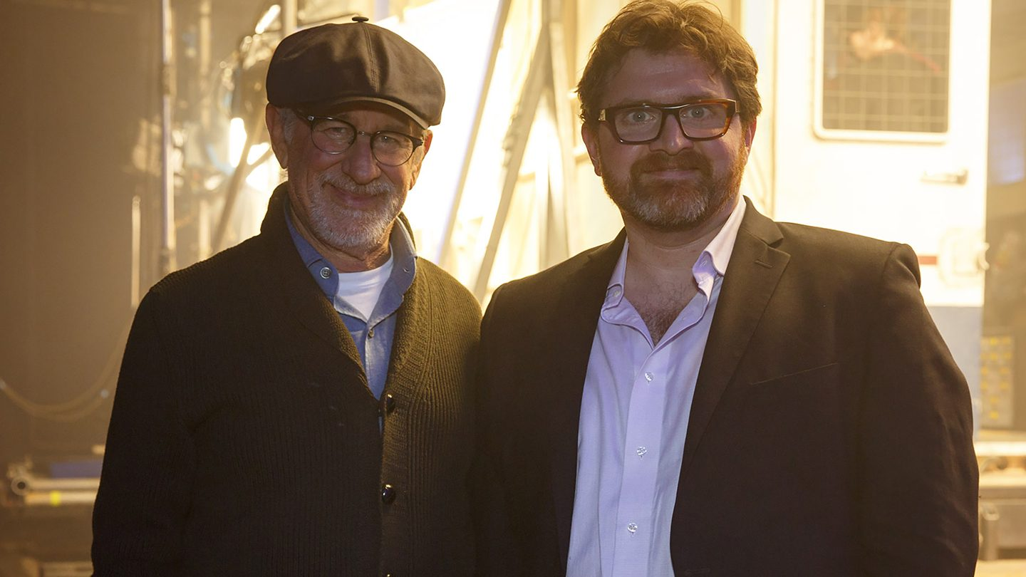 Cline (R) with Ready Player One Director Steven Spielberg. Photo by Jaap Buitendijk